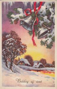 Hungary New Year bells winter seasonal greetings postcard 1938