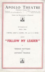 Follow My Leader Ronald Squire Apollo Theatre WW2 1940 London Programme