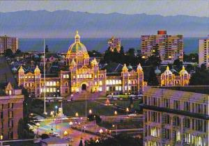 Canada Parliament Buildings At Dusk Victoria British Columbia