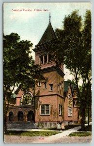 Perry Iowa~Little Girls on Sidewalk at Christian Church~1909 Postcard