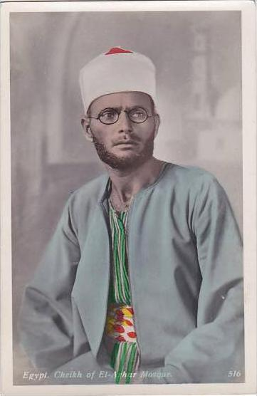 Egypt Cheikh Of El-Azhar Mosque Real Photo RPPC