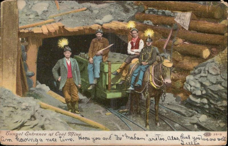 Tunnel Entrance at Coal Mine horse railway wagon miners logs