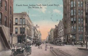 Iowa Des Moines Fourth Street Looking South From Locust Street 1916