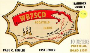 Pocatello Idaho~WB7SCD Ham Radio~Bannock County~Info on Back~Postcard