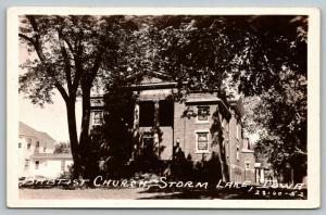 Storm Lake Iowa~Baptist Church Long View~House Next Door~1950s RPPC