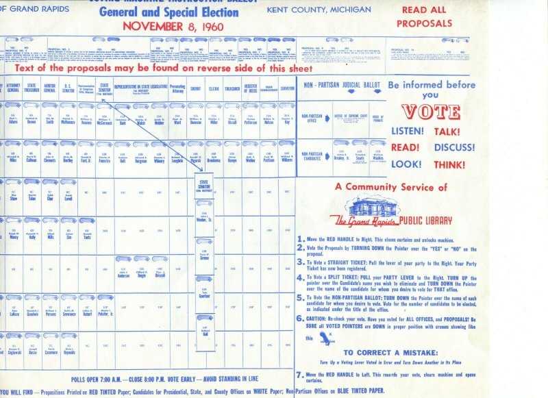 Grand Rapids MI Kennedy Voting Machine Instruction Ballot Nov 1960 - B4
