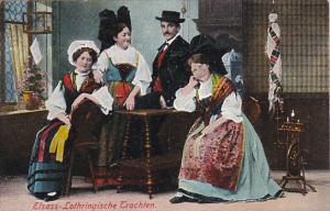 People Dressed In Traditional Costume, Elsass-Lothringische Trachten, France,...