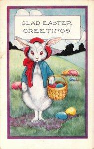 Whitney Easter Dressed Rabbit, Gathering Eggs, Dressed Animals, Old Postcard