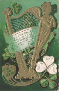 Saint Patrick's Day With Shamrock & Gold Harp 1909