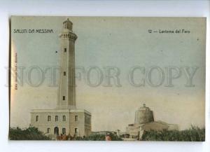 233067 ITALY Saluti da MESSINA lighthouse Vintage postcard