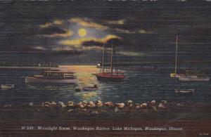 Illinois Waukegan Moonlight Scene On Waukegan Harbor 1951 Curteich