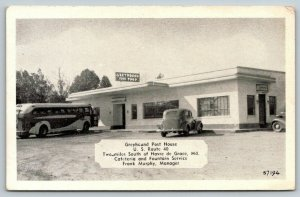 Havre de Grace MD~Greyhound Bus @ Post House Cafeteria & Fountain~Route 40~1940s