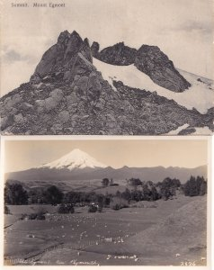Mount Mt Egmont Plymouth New Zealand 2x Old incl WW2 RPC Postcard s