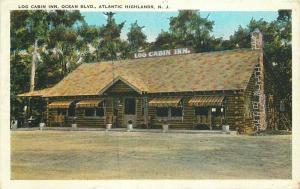 Atlantic Highlands New Jersey Log Cabin Inn 1930s Postcard Tichnor 3408 roadside
