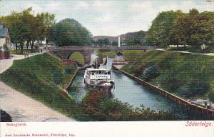 Sweden Svaegbron Soedertelge Canal Scene With Steamer