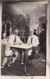 Cuba Havana Souvenir From Tropical Garden Men Enjoying A Drink Real Photo