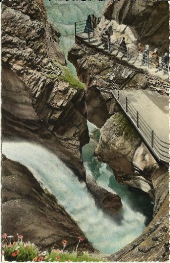 Vintage Postcard, Trummelbach Falls at Laterbrunnen's in Zurich Switzerland