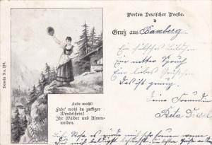 Gruss Aus Bamberg , Germany , PU-1898 ; Woman waving hat