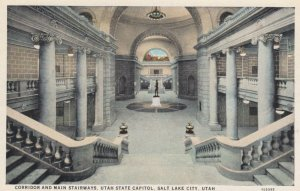 SALT LAKE CITY, Utah, 1900-10s; Corridor and Main Stairways, Utah State Capitol