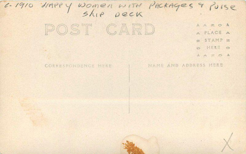 C-1910 Happy Women Packages Purse Ship Deck RPPC real photo postcard 4956