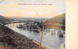North Yakima Washington~Union Gap~Yakima River~Telephone Poles~1908 Postcard