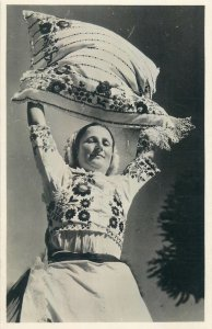 Postcard Hungarian ethnic types folk costumes 1930s Kalocsa