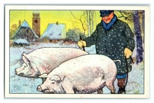 Farmer Finds Man, Takes Pigs Back The Long Winter Echte Wagner German Trade Card