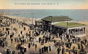 Coney Island New York City~Rest Pavilion on Boardwalk~Victorian Crowd~1910 PC