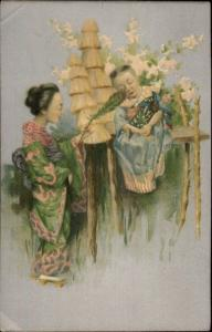 Japanese Children - Girl in Kimono Tickles Sleeping Child w/ Peacock Feather