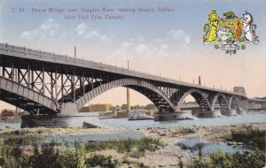 FORT ERIE, Ontario, Canada, 1900-1910's; Peace Bridge Over Niagara River Look...
