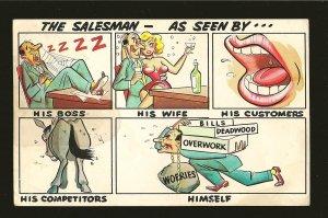 Postmark 1956 Crow Agency Montana The Salemans Laff Card Cooper Postcard