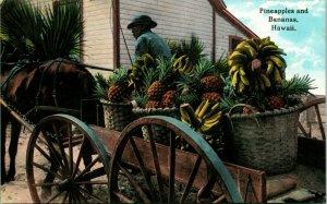 Vtg Cartolina 1910s Honolulu Hi Cavallo Trainato Cart Ananas Banane Hawaii Curio