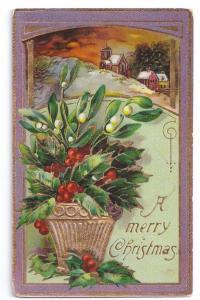 Mistletoe Holly Cottage Scene Gilded Glossy Germany ca 1910
