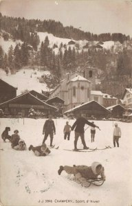 Vintage 1911 Switzerland Postcard, Champery, Sport d'Hiver, Winter Sports DN5