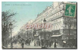 Old Postcard Paris Montmartre Boulevard