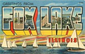 Fox Lake Illinois Large Letters Multi  Aero Teich linen 1940s Postcard 21-6257