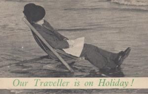 Keystone Wine Alcohol Delivery Man Is Drunk Beach Antique Advertising Postcard