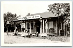 Wisconsin Dells~Pioneer Village~Lodge Entrance~Horse Hitching Posts~1950s RPPC