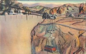 Lowering Loaded Box Car Boulder Nevada Hoover Dam governent cableway Postcard