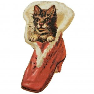 Antique Victorian Puss Cat in Red Boot Christmas Diecut Trade Card 1880s Paper