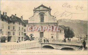 Postcard Old Annecy Eglise Saint Francois and Bridge Perriere