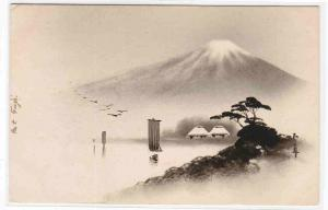 Boat on Lake At Mt Fuji Japan Lacquer postcard