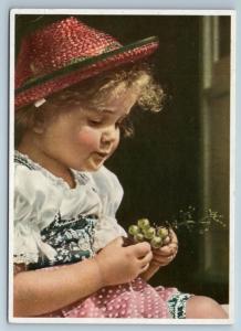 1950s LITTLE GIRL with Grapes Photo Art Verlag Rare Germany Postcard