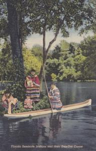FLORIDA, PU-1953; Native American Seminole Indians & their dugout canoe