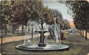 Ohio Postcard WELLSVILLE Columbiana County c1910 THE FOUNTAIN Broadway
