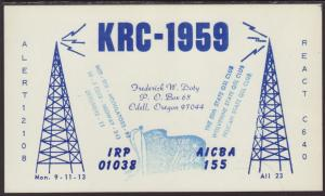 KRC-1959 Doty Odell,OR QSL Card