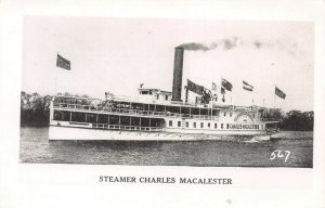 Steamer Charles MacAlester, Early Real Photo Postcard