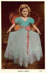 Shirley Temple Blue Dress Colorized real photo postcard 7194.