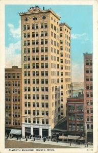 Duluth MN~Men Atop 14-Story Alworth Building~1920s Postcard