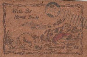 COMIC; PU-1906; Will be home soon, Angry dog chasing boy